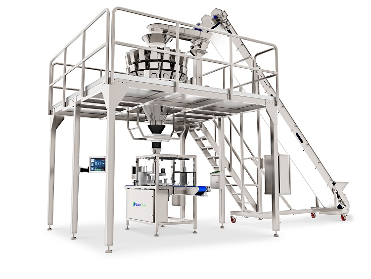 Vertical weighing and container filling packaging machine