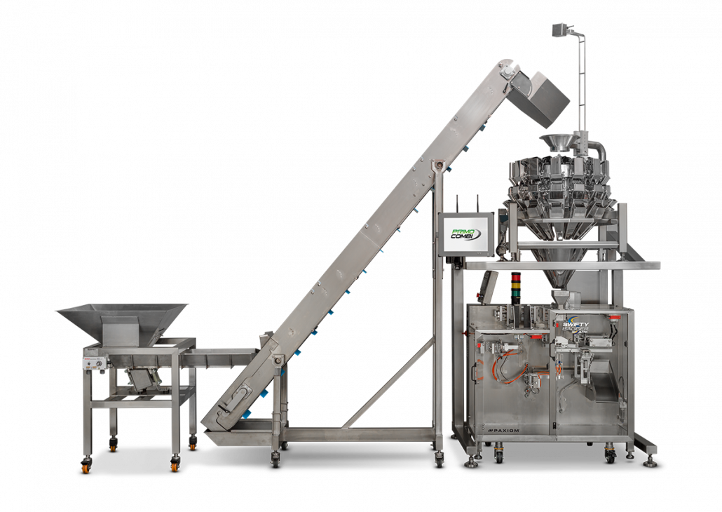 Cannabis conveying and weighing pouch filling and packaging machinery