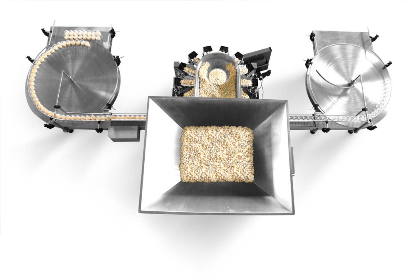 Powder cheese filling and weighing automated machinery