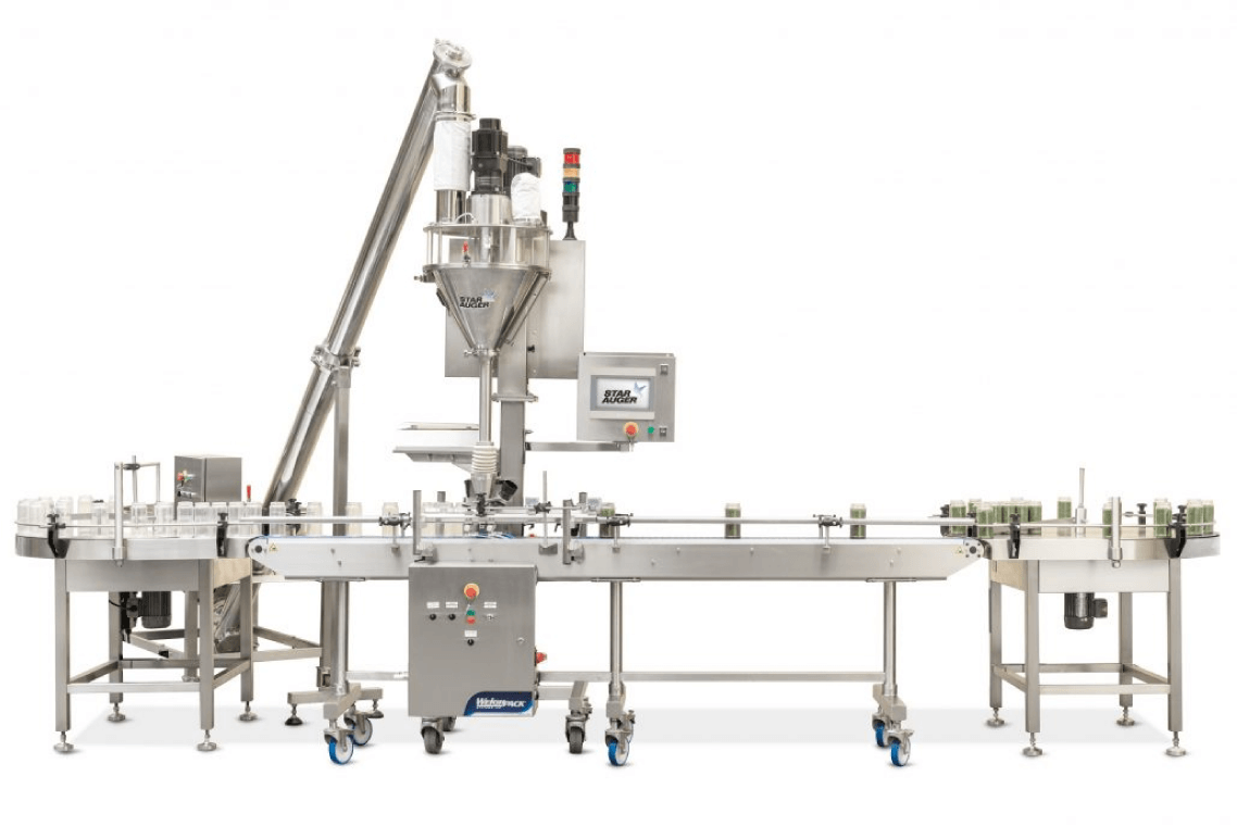 Horizontal container filling and weighing packaging machine
