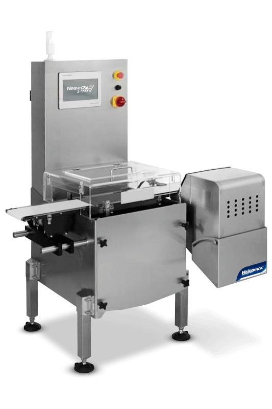 Check weighing machine for automated packaging